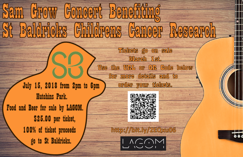 SAM GROW CONCERT TO BENEFIT ST. BALDRICKS CHILDREN'S CANCER RESEARCH
